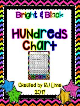 Bright and Black Theme Hundreds Chart