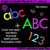 Alphabet Clip Art Bright & Bold in 11 colors Numerals Math