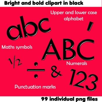 Alphabet Clip Art Bright & Bold in Black + Numerals, Math Symbols & Punctuation
