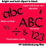 Alphabet Clip Art Bright & Bold in Black + Numerals, Math