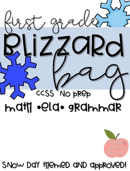 Bright and Bold Blizzard Bag- 1GCCSS Activities for 2 Whole Snow Days - No Prep