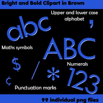 Alphabet Clip Art Bright & Bold in Blue + Numerals, Math Symbols & Punctuation