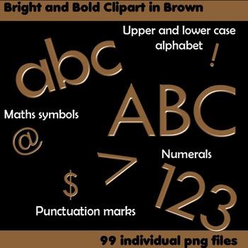 Alphabet Clip Art Bright & Bold in Brown + Numerals, Math Symbols & Punctuation