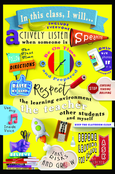 Bright and Bold Classroom Rules Management Poster