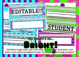 EDITABLE Bright Neon Desk Nameplates with cursive and print alphabet strips!