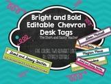 Bright and Bold Editable Chevron Desk Tags