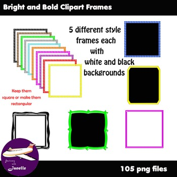 Bright and Bold Clip Art Frames - Match the font in my store