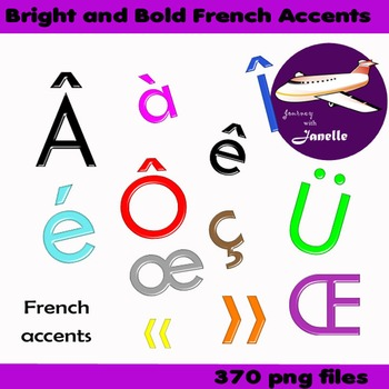 French Accents Clip Art Bright and Bold   - Match my full set in store
