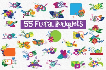 Bright and Bold Modern Flowers Floral Clip Art - 180 PNG and EPS Vector Images
