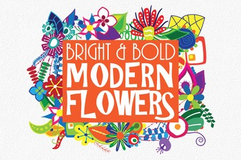Bright and Bold Modern Flowers Floral Clip Art - 180 PNG a