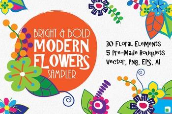 Bright and Bold Modern Flowers Floral Clip Art Sampler - 35 Images