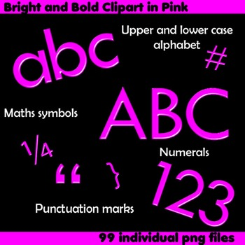 Alphabet Clip Art Bright & Bold in Pink + Numerals, Math Symbols & Punctuation