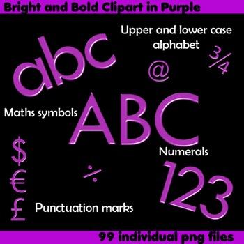 Alphabet Clip Art Bright & Bold in Purple + Numerals, Math Symbols &Punctuation