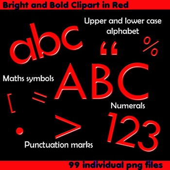 Alphabet Clip Art Bright and Bold in Red +Numerals, Math Symbols and Punctuation