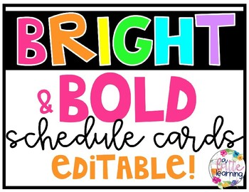 Bright and Bold Schedule Cards