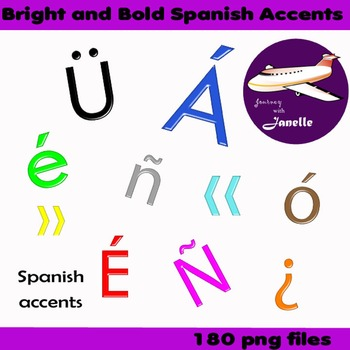 Spanish Accents Clip Art Bright and Bold   - Match my full set in store