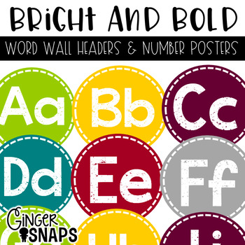 Bright and Bold Word Wall Headers and Number Posters