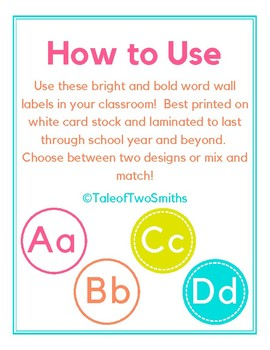 Bright and Bold Word Wall Labels