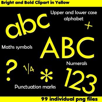 Alphabet Clip Art Bright & Bold in Yellow + Numerals, Math