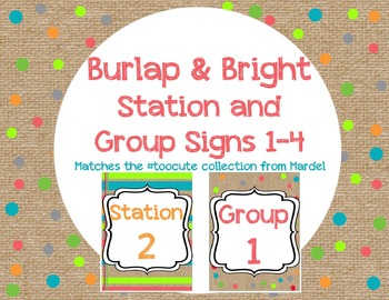 Bright and Burlap Station and Group Signs matches toocute