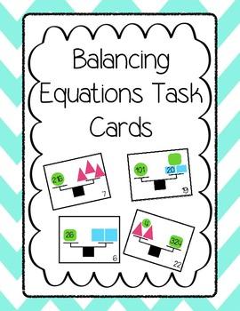 "Bright and Cheerful ""Balancing Equations"" Task Cards!"