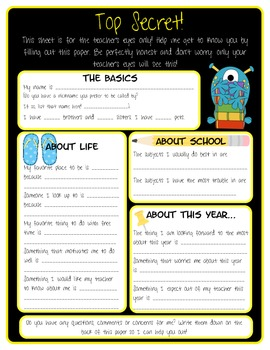 "Bright and Cheerful ""Getting to Know You"" student survey!"