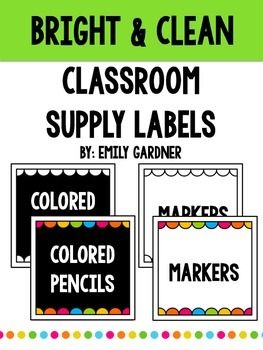 Classroom Supply Labels-Bright and Clean