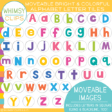 Bright and Colorful Alphabet Letter Tiles - MOVEABLE Clip Art