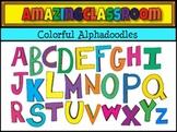 Bright and Colorful Alphadoodles Alphabet Letter Clip Art Set