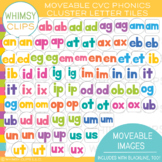 Bright and Colorful CVC Letter Tiles - MOVEABLE Clip Art