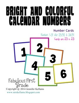 Bright and Colorful Calendar Numbers