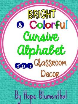 Bright and Colorful Cursive Alphabet