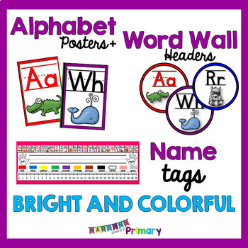 Bright and Colorful EDITABLE Name Tags,  Alphabet Posters and Word Wall Headers