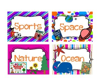 Bright and Colorful Library Labels in Different Patterns