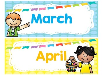 Bright and Colorful Polka Dot Monthly Calendar Toppers
