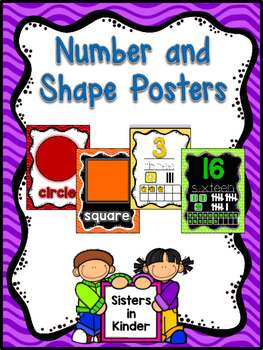 Bright and Colorful Shape and Number Posters