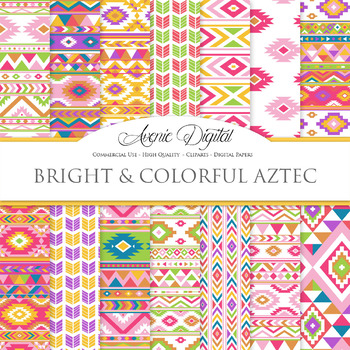 Bright and Colorful aztec Digital Paper, Boho seamless patterns backgrounds