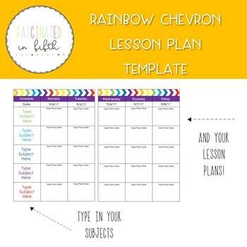 Bright and Editable Rainbow Chevron Lesson Plan Template