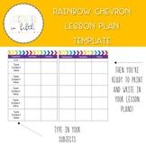 Bright and Editable Rainbow Chevron Lesson Plan Template
