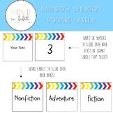 Bright and Editable Rainbow Chevron Square Labels