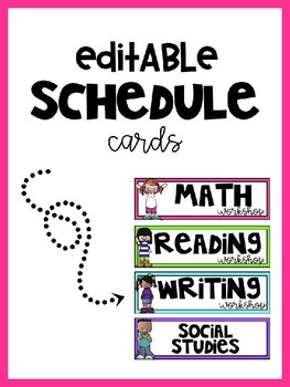 Daily Bright and Editable Schedule Cards