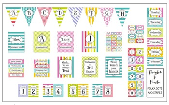 Bright and Fresh Polka Dots + Stripes Editable Classroom Decor Package