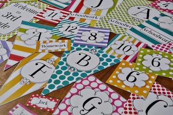 Bright and Fresh Polka Dots + Stripes Editable Classroom D