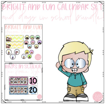 Bright and Fun Calendar & Count The Days in School Bundle!