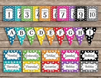 Bright and Fun Polka Dot Editable Classroom Decor Package