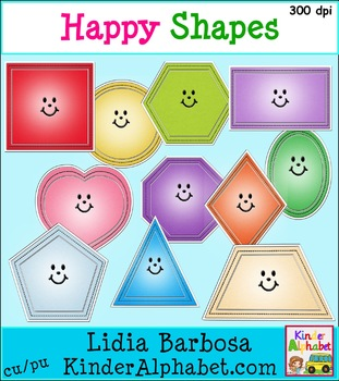 Bright and Happy Shapes {Clip Art for Teachers}