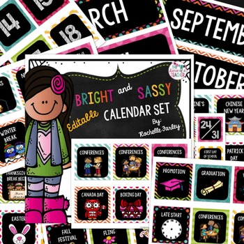 Classroom Calendar Set for the Whole Year-Bright and Sassy Collection
