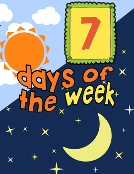 Bright and colorful days of the week display for classroom