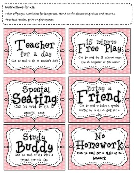 Bright and fun classroom coupons in polka dots!