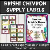 Bright chevron theme classroom decor supply labels